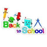 Back to School Title Texts with School Items Stock Photo