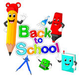 Back to School Title Texts with School Items Stock Photos