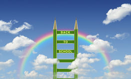 Back to school title words on green pencil ladder Royalty Free Stock Photos