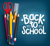 Back to School Title Words with Realistic School Items Royalty Free Stock Photos