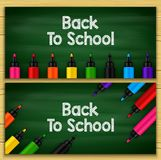 Back to school title words written in a chalkboard with sets of markers stock illustration