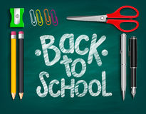 Back to School Title Words Written with Realistic School Items Royalty Free Stock Photography