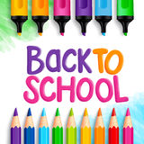 Back to School Title Words Written in a White Drawing Paper Stock Photos