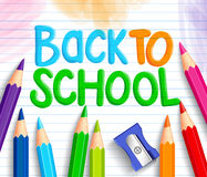 Back to School Title Words Written in a White Line Paper. With Sets of Colorful Crayons or Colored Pencils and Sharpener. Vector Illustration Royalty Free Stock Images