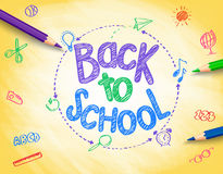 Back to School Title Written by a Colorful Pencils. Or Crayons with School Items Drawing in Sketch Textured Yellow Background. Vector Illustration Stock Photo