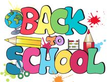 Back to school. Title Written with scool objects royalty free illustration