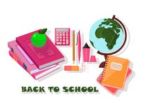 Back to school tools. Vector template Background school supplies set Stock Image