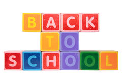 Back to school in toy block letters Stock Photo