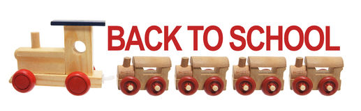 Back to School and Toy Trains. On White Background Stock Photo
