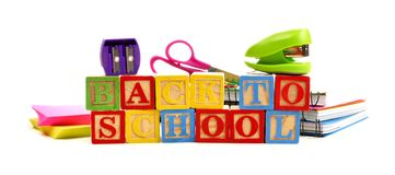 Back to School toy wooden blocks with school supplies Royalty Free Stock Image