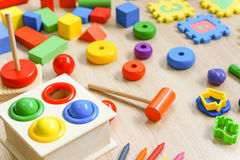 Back to school. Toys for kids to play and learn / Back to school concept Royalty Free Stock Images