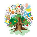 Back to school - tree with education icons Royalty Free Stock Image