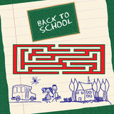 Back to school. Try to back to school the children with the labyrinth Stock Photos