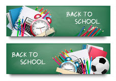 Back to school.Two banners with school  supplies. Stock Photography