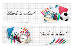 Back to school.Two banners with school  supplies. Royalty Free Stock Photo