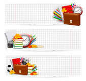 Back To School. Two Banners With School Supplies. Stock Photo