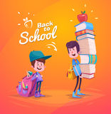 Back to school. Two cute schoolchild with supplies Stock Images