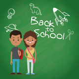 Back to school two pupil board chalk text draw Stock Photography