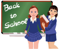Back to School  Two schoolgirl Royalty Free Stock Photos