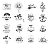 Back to school typographic labels set. Stock Photography