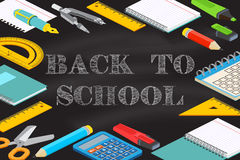 Back To School typographical background on chalkboard. Welcome Back to School design. For greeting card, advertising, promotion, poster, flier, blog, article Royalty Free Stock Photos