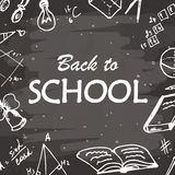 Back to school typographical background. Freehand drawing icon elements on chalkboard. Sketch vector illustration. Royalty Free Stock Photos