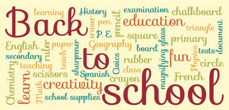 Back to school typography. Colorful Back to school typography with light yellow background Stock Photos