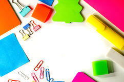 Back to school. various stationary on white Royalty Free Stock Image