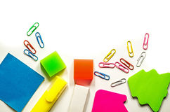 Back to school. various stationary on white Stock Photos