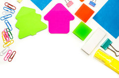 Back to school. various stationary on white Royalty Free Stock Photos