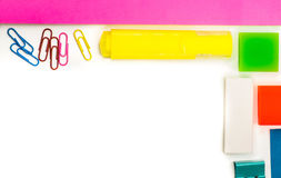 Back to school. various stationary on white Royalty Free Stock Images