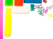 Back to school. various stationary on white Stock Photo