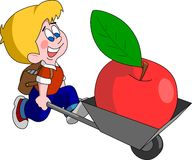 Back to school (vector). Cute boy carry big apple in cart at the beginning of school year Stock Images