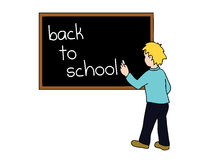 Back to school vector. Vectored illustration of a kid writing on blackboard that it's time to go back to school Royalty Free Stock Images