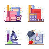 Back to school vector abstract flat illustration. Education and study icons, labels, stickers and design elements.  stock illustration