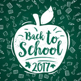 Back to School vector 2017 apple poster chalkboard. Back to School 2017 poster of apple and stationery supplies pattern on green chalkboard background. Vector royalty free illustration