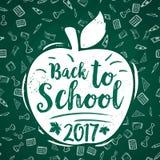 Back to School vector 2017 apple poster chalkboard. Back to School 2017 poster of apple and stationery supplies pattern on green chalkboard background. Vector Stock Photo