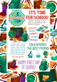 Back to School vector autumn education poster. Back to School poster for September autumn education and study season. Vector school bag, books or paint brush and Stock Photos