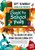 Back to School vector autumn party poster. Back to School college party invitation poster for September autumn seasonal school event. Vector design of school bag Stock Photo