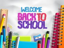 Back to school vector background design with school elements, colorful education supplies. And white space for text in paper texture background. Vector Royalty Free Stock Image