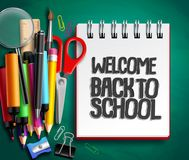 Back to school vector background design with school supplies, education items. And white space for welcome back to school text in green texture background Stock Photo