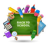 Back to school vector background. Education concept with school supplies. Back to school on chalkboard and colorful objects illustration stock illustration