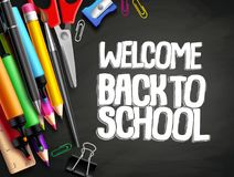Back to school vector background template design with colorful elements. Like school supplies, education items and space for welcome back to school text in Royalty Free Stock Photography