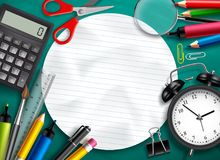 Back to school vector background template with education elements, school items Stock Photo