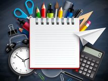 Back to school vector background template with education elements, school supplies Stock Images