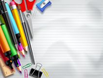 Back to school vector background template with education elements, school supplies Stock Photo