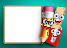 Back to school vector background template. Funny school characters Stock Photos