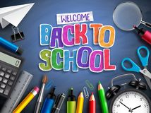 Back to school vector banner concept with school elements, education items and colorful paper cut Royalty Free Stock Photo