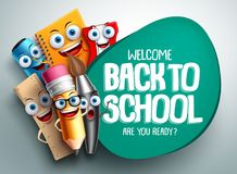 Back to school vector banner design with colorful funny school characters. A, education items and space for text in a background. Vector illustration royalty free illustration