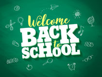 Back to school vector banner design with 3d title and drawings. In green chalkboard texture background. Vector illustration stock illustration